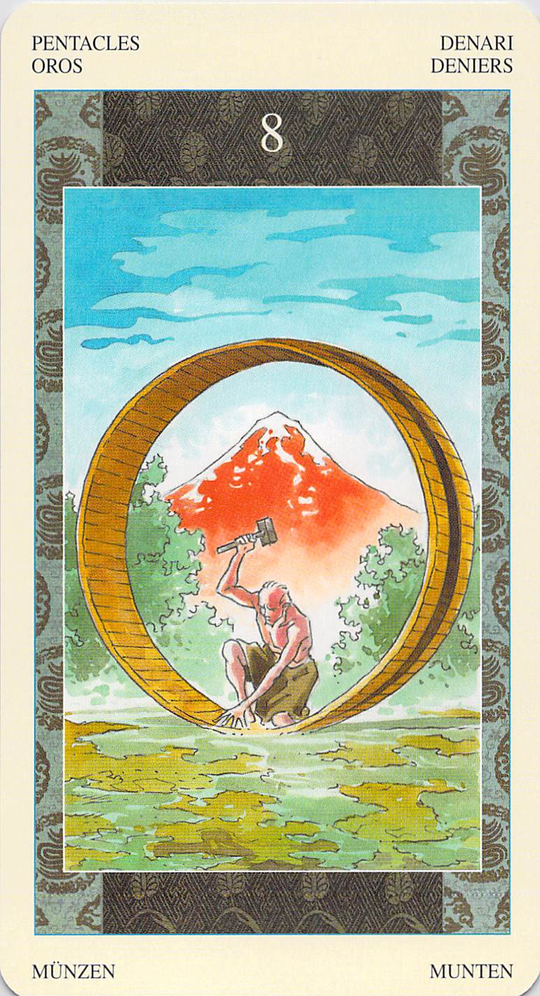 Eight of Pentacles--Samurai Tarot