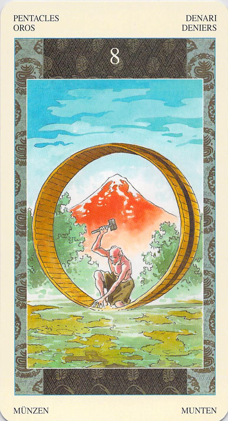 Eight of Pentacles--Samurai Tarot