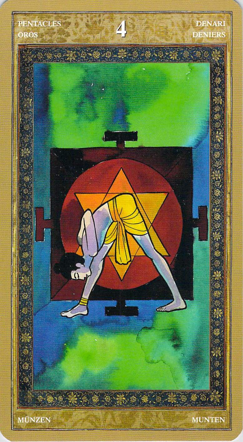 The Pentacles Suit Tarot Cards Meanings In Readings: Four Of Pentacles
