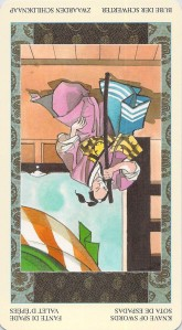 Knave of Swords reversed--Samurai Tarot