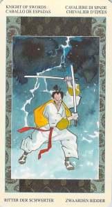 Knight of Swords--Samurai Tarot, Miyamoto Musashi