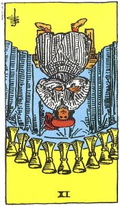 Nine of Cups reversed--Rider-Waite