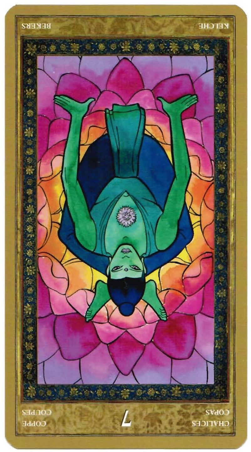 Seven of Chalices reversed--Yoga Tarot