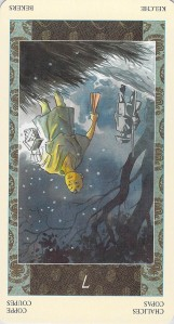 Seven of Chalices reversed--Samurai Tarot