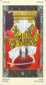 Six of Pentacles reversed--Samurai Tarot