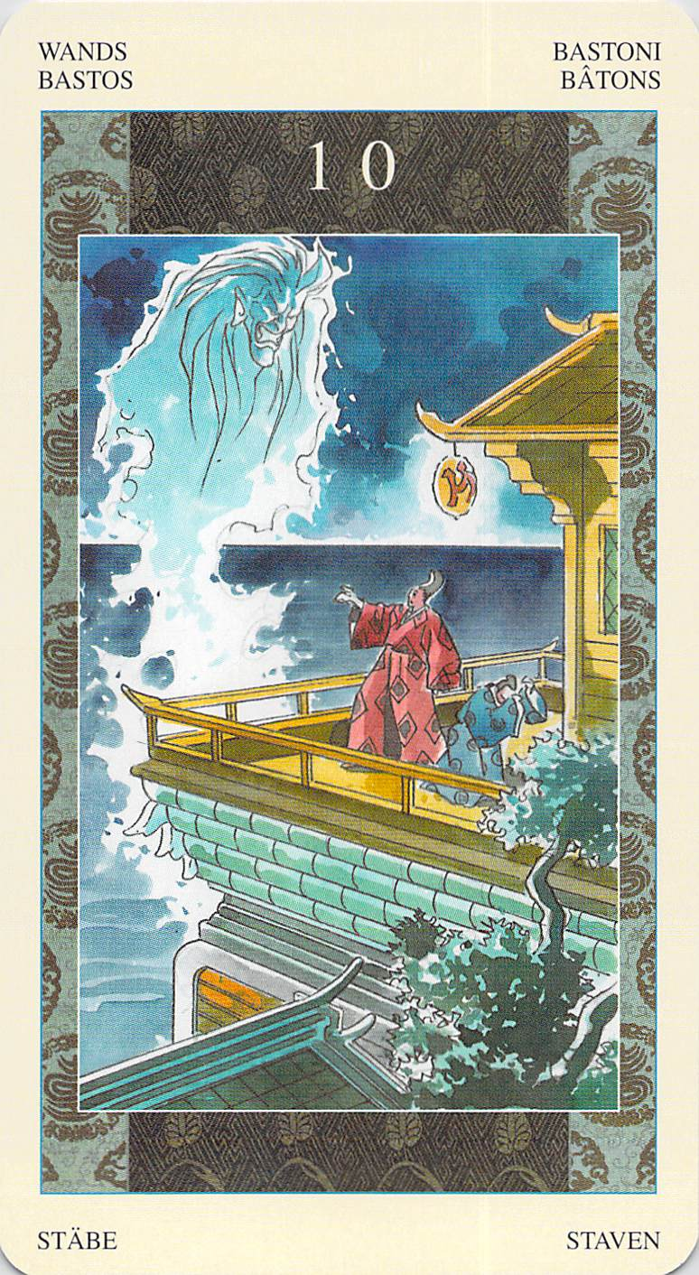 Ten of Wands--Samurai Tarot