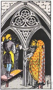 Three of Pentacles--Rider-Waite