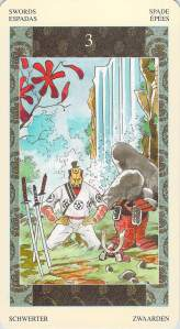 Three of Swords--Samurai Tarot