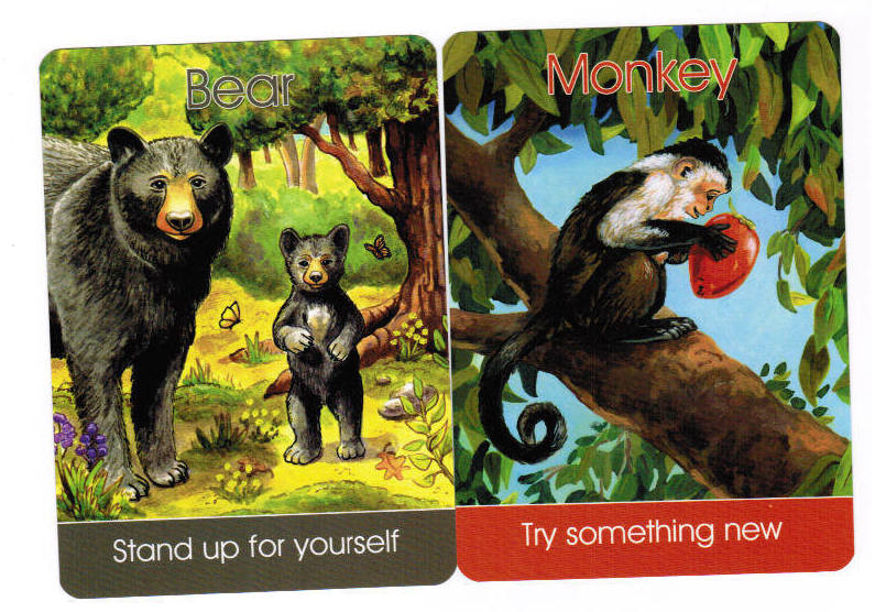 Monkey and Bear from the Children's Spirit Animal Cards