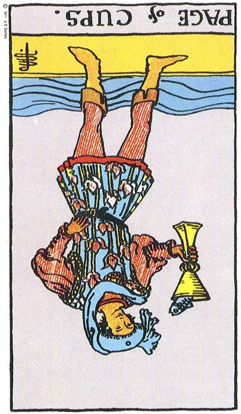 Page of Cups reversed--Rider Waite