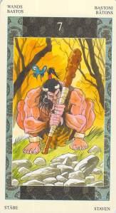 Seven of Wands--Samurai Tarot