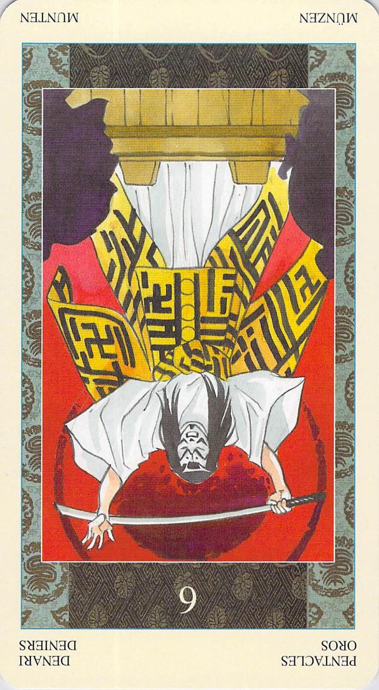 Six of Pentacles reversed--Samurai Tarot