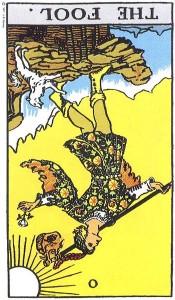 The Fool reversed--Rider-Waite