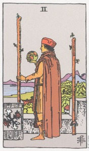 Two of Wands--Rider-Waite