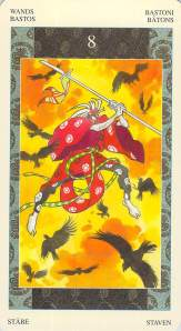 Eight of Wands--Samurai Tarot