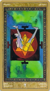 Four of Pentacles reversed--Yoga Tarot