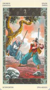 Seven of Swords--Samurai Tarot