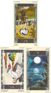 reversed 10 of Swords, reversed Emperor, 9 of Pentacles