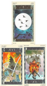 Samurai Tarot: The Tower, The Devil reversed, Five of Chalices