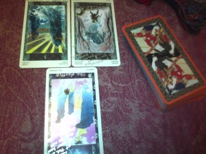 reversed Three of Chalices, reversed Five of Wands, reversed Judgement