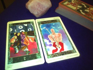 Two of Cups reversed, King of Swords, Samurai Tarot