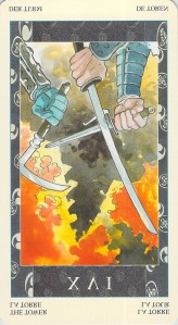 The Tower reversed, Samurai Tarot