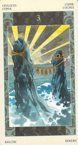 Three of Chalices -- Samurai Tarot