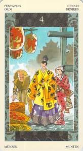 Four of Pentacles -- Samurai Tarot