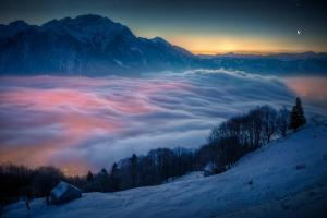 moon and venus over Switzerland