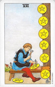 Eight of Pentacles, Universal Waite