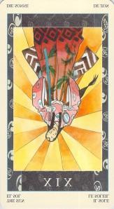 The Sun reversed, Samurai Tarot