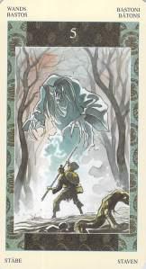 Five of Wands -- Samurai Tarot