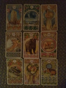 Nine card forecast for Brave New World, from the Art Nouveau Oracle Lenormand