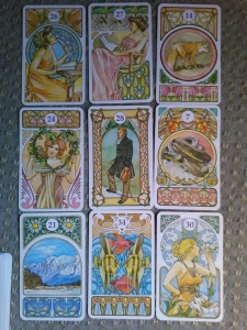 Nine card reading on Hammered's ending, putting the man in the center at the beginning as a significator for Atticus