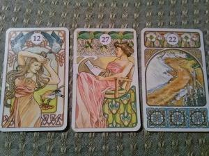 Three card spread from the Art Nouveau Lenormand: the Birds, the Letter, the Crossroads