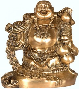 laughing buddha with money bag