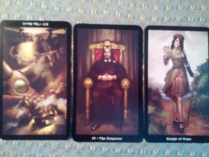 Steampunk Tarot, The Devil reversed, The Emperor, the Knight of Cups
