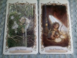 The Hermit, Six of Pentacles, Lisa Hunt, Fantastical Creatures Tarot