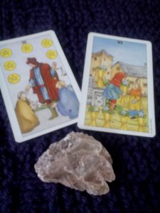 Six of Pentacles; Six of Cups. Uh-oh, is there enabling going on here?