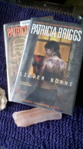 Silver Borne, by Patricia Briggs. From my local library!