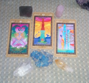 Yoga Tarot, Queen of Cups, Hanged Man, Page of Cups