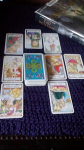 Hanson-Roberts tarot, Knight of Pentacles, The Lovers, Queen of Cups, King of Cups, Hanged Man, Knight of Wands, Eight of Pentacles, Five of Cups