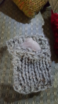 Rider Waite, knitting, cozy, rose quartz crystal