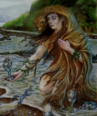 Selkies traditionally go back and forth between water and land. This detail is from Lisa Hunt's Seven of Cups card from the Fantastical Creatures Tarot.
