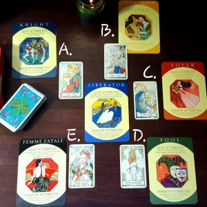 The spread I used to answer Alyssa's question, using two decks: Caroline Myss' Archetypes Deck and the pocket version of the Hanson Roberts Tarot.