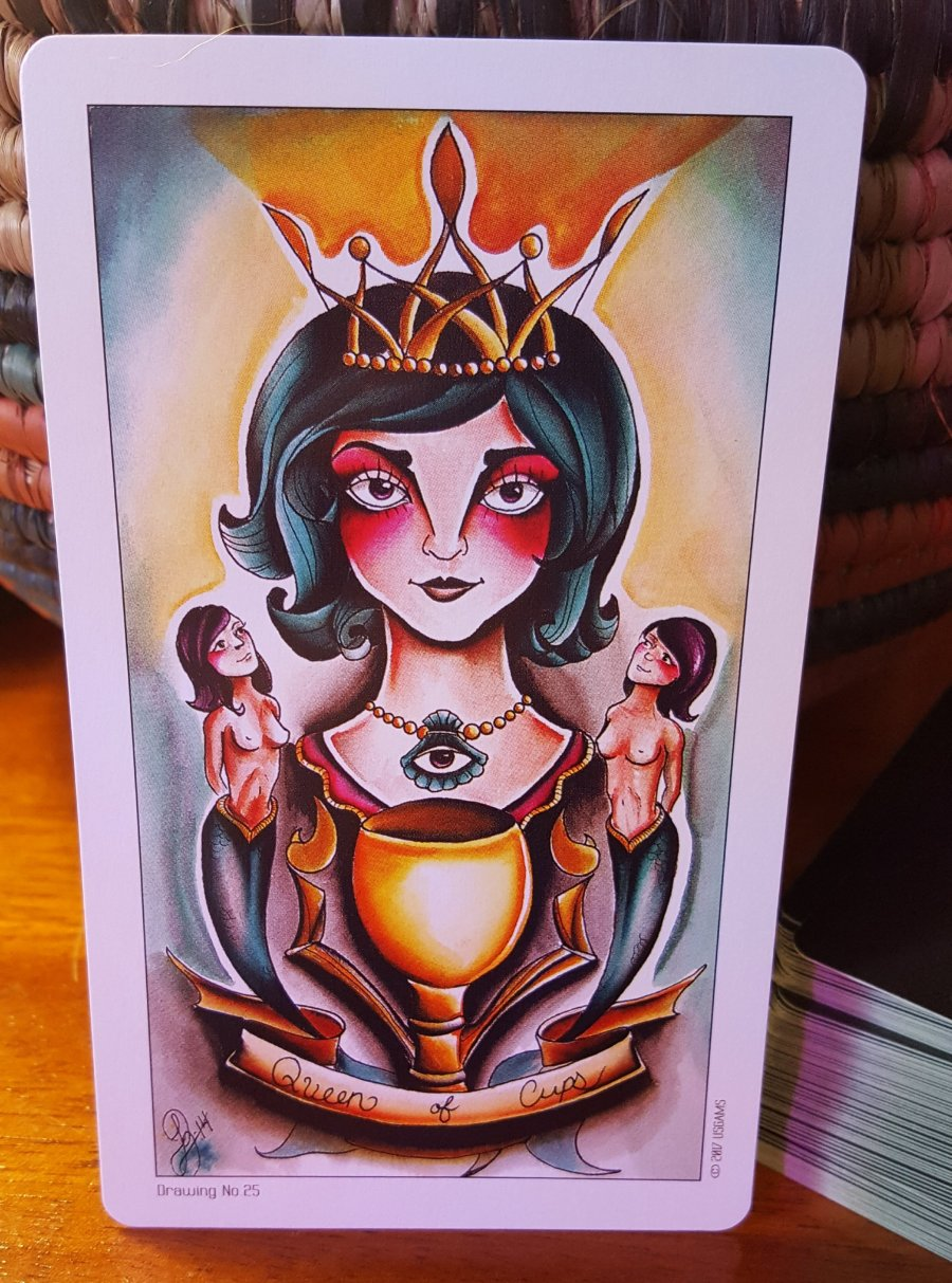 Queen of Cups from the Tattoo Tarot.